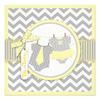 Tie or Tutu Chevron Print Gender Reveal Party Personalized Announcement