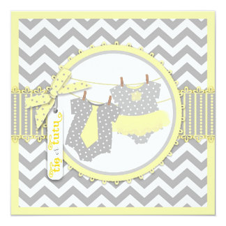 Tie or Tutu & Chevron Print Gender Reveal Party Personalized Announcement