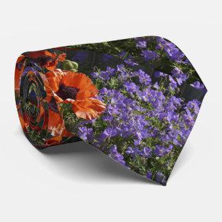 Tie, Orange and Purple Flowers, Ladies, Women's Neck Tie