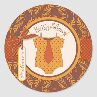Tie Polka Dot Jumper and Autumn Damask Print Round Stickers