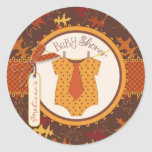 Tie Polka Dot Jumper and Autumn Leaves Print Classic Round Sticker