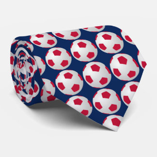 Tie, Soccer Ball, Red, White, and Blue Sports Tie