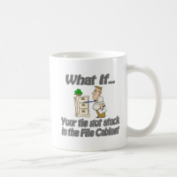 Tie Stuck File Cabinet Coffee Mug