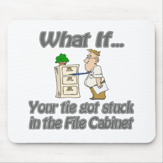 Tie Stuck File Cabinet Mouse Pad