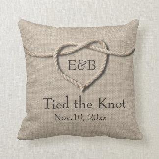 Tie the Knot Burlap Wedding Pillow