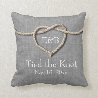 Tie the Knot Gray Burlap Wedding Pillow