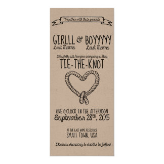 "Tie-the-Knot Wedding Invitation 4"" X 9.25"" Invitation Card"