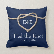Tie the Knot Wedding Pillow Navy