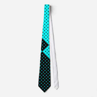 Tie Turquoise and Black Polka Dot