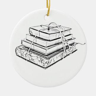 Tied Books Sketch Ceramic Ornament