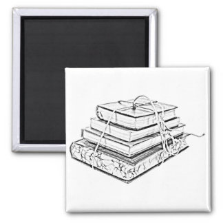 Tied Classic Books Literary Reading Pencil Sketch Refrigerator Magnets