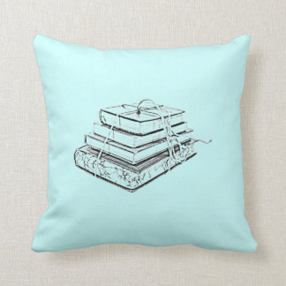 Tied Classic Books Literary Reading Pencil Sketch Pillow