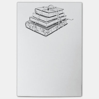 Tied Classic Books Literary Reading Pencil Sketch Post-it® Notes