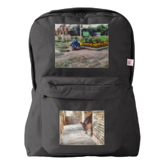 Tied donkey in brick structure american apparel™ backpack