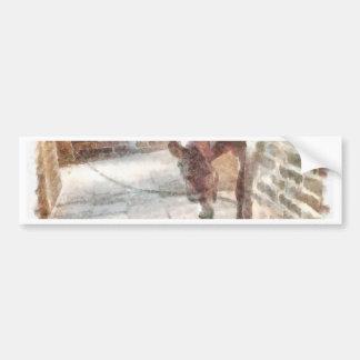 Tied donkey in brick structure bumper sticker