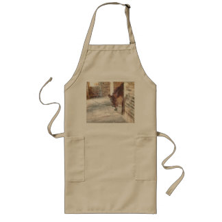 Tied donkey in brick structure long apron