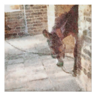 Tied donkey in brick structure poster