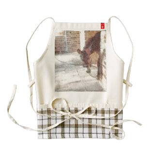 Tied donkey in brick structure zazzle HEART apron