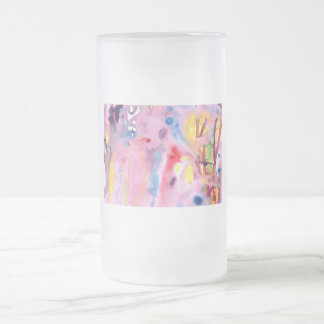 Tied dye type design, purple pink and more frosted glass beer mug