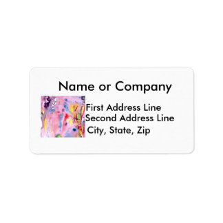 Tied dye type design, purple pink and more label