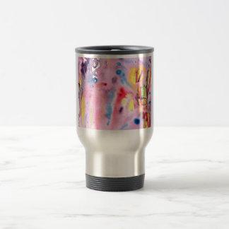 Tied dye type design, purple pink and more travel mug