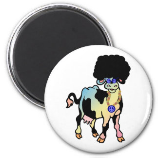 Tiedye Afro Cow 2 Inch Round Magnet