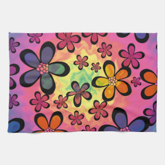 tiedye floral hand towel