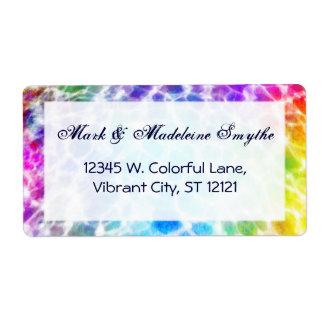 Tiedye Hippie Wavy Rainbow Effect Label