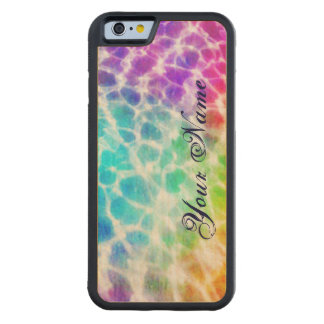 Tiedye Hippie Wavy Rainbow Effect Personalized Carved Maple iPhone 6 Bumper Case