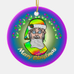 TieDye Santa Double-Sided Ceramic Round Christmas Ornament