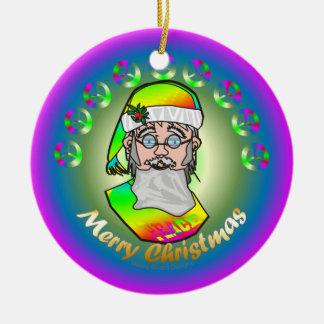 TieDye Santa Double-Sided Ceramic Round Christmas Ornament