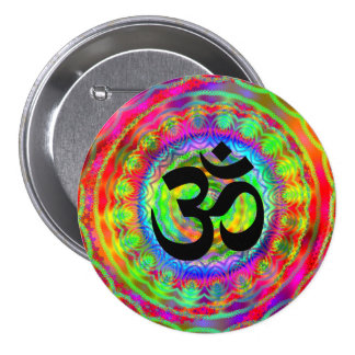 Tiedye Target with Om Symbol Button