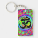 Tiedye Target with Om Symbol Rectangle Acrylic Key Chains
