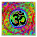 Tiedye Target with Om Symbol Poster