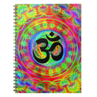 Tiedye Target with Om Symbol Spiral Notebook