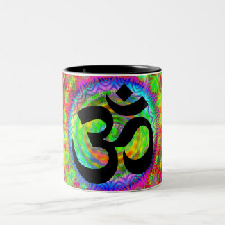 Tiedye Target with Om Symbol Two-Tone Coffee Mug