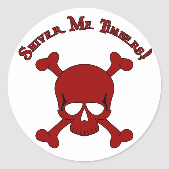 Tiembla las maderas - cráneo y bandera pirata pegatina redonda