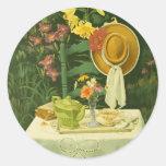 Tiempo 1144 del té en jardín pegatinas redondas