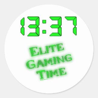 Tiempo 1337 del juego pegatina redonda