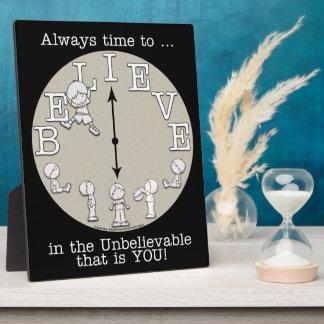 Tiempo al Creer-Pequeños muchacho y reloj Placas Con Foto