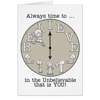 Tiempo al Creer-Pequeños muchacho y reloj Tarjeta De Felicitación