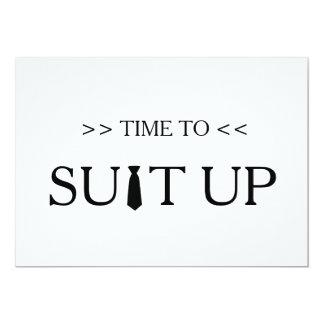 """Tiempo al fondo del blanco de Suitup Invitación 5"""" X 7"""""""