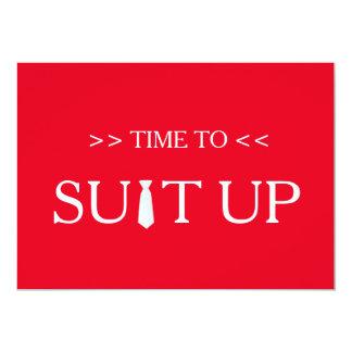 """Tiempo al fondo rojo blanco de Suitup Invitación 5"""" X 7"""""""