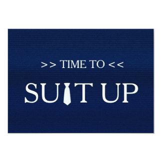 """Tiempo al lazo blanco azul de Suitup Invitación 5"""" X 7"""""""