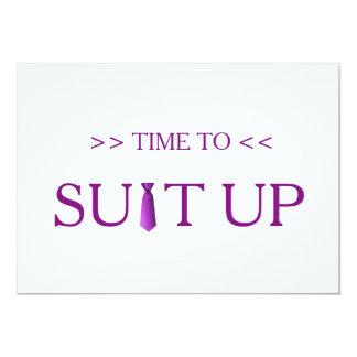 """Tiempo al lazo púrpura de Suitup Invitación 5"""" X 7"""""""