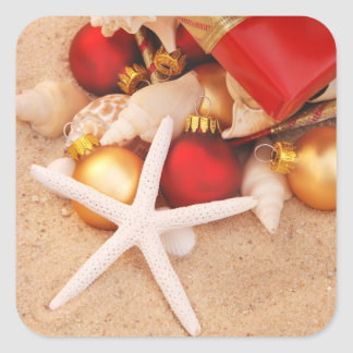Tiempo caliente Christmastime Pegatina Cuadrada