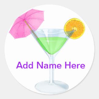 ¡Tiempo cosmopolita del fiesta de Martini! Pegatina Redonda