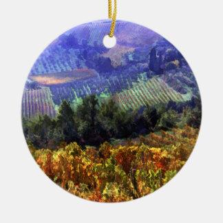 Tiempo de cosecha en el viñedo adorno navideño redondo de cerámica