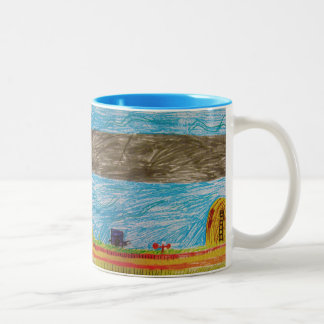 Tiempo de cosecha taza de café de dos colores
