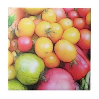¡Tiempo de cosecha - tomates! Azulejo Cuadrado Pequeño
